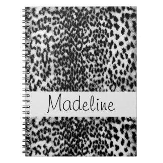 Animal pattern, black, white, monogram spiral notebook