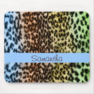 Animal pattern, brown, blue, monogram mouse pads