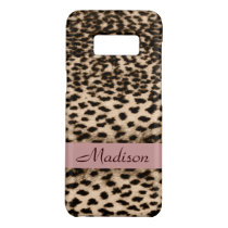 Animal pattern, brown, pink, monogram Case-Mate samsung galaxy s8 case