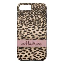 Animal pattern, brown, pink, monogram iPhone 7 plus case