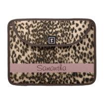 Animal pattern, brown, pink, monogram sleeve for MacBooks