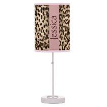 Animal pattern, brown, pink, monogram table lamp