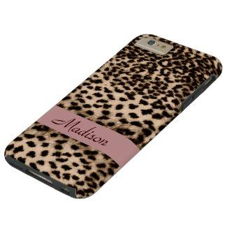 Animal pattern, brown, pink, monogram tough iPhone 6 plus case