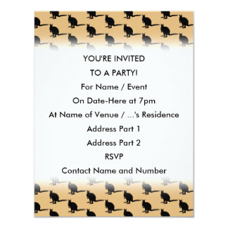 Animal Pattern. Wallaby Design in Brown and Black. 4.25x5.5 Paper Invitation Card