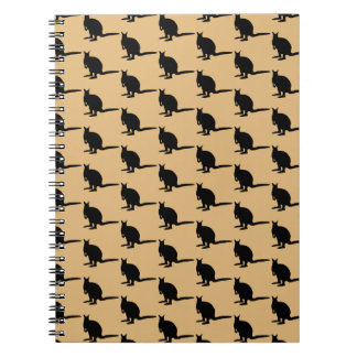 Animal Pattern. Wallaby Design in Brown and Black. Spiral Notebook