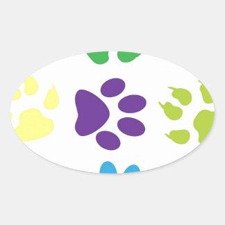 animal paw  design oval sticker