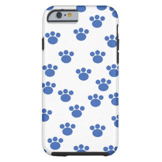 Animal Paw Pattern. Blue and White. Tough iPhone 6 Case