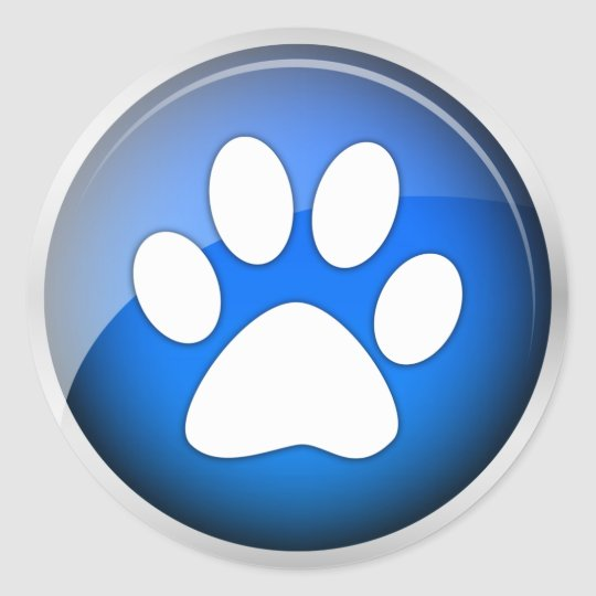 Animal Paw Print Blue Icon (pack of 6/20) Classic Round Sticker