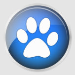 Animal Paw Print Blue Icon (pack of 6/20) Round Stickers