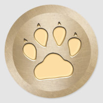 Animal Paw Print Gold Round Sticker