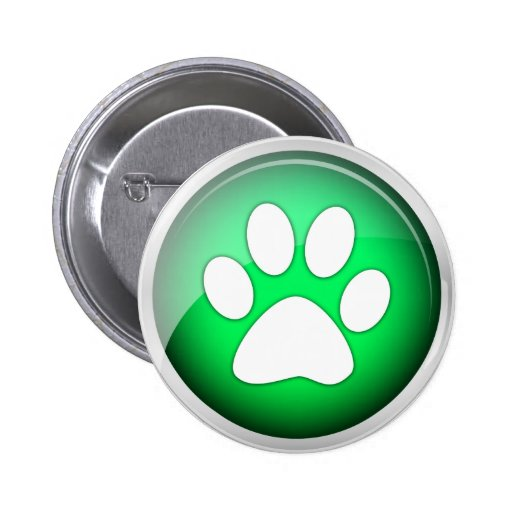 Animal Paw Print Green Icon Buttons