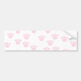 Animal Paw Print. Light Pink and White Pattern. Bumper Sticker