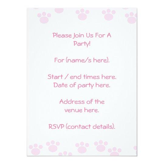 Animal Paw Print. Light Pink and White Pattern. Card