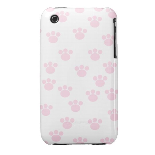 Animal Paw Print. Light Pink and White Pattern. Case-Mate iPhone 3 Case