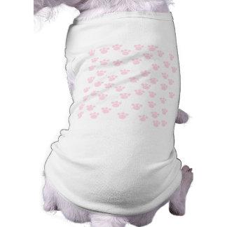 Animal Paw Print. Light Pink and White Pattern. Pet T-shirt