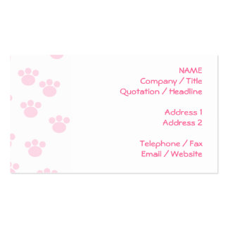 Animal Paw Print. Light Pink and White Pattern. Double-Sided Standard Business Cards (Pack Of 100)