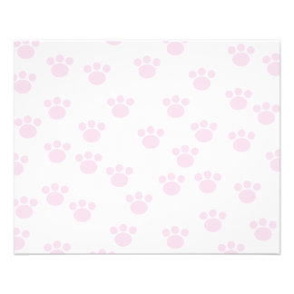 Animal Paw Print. Light Pink and White Pattern. Full Color Flyer