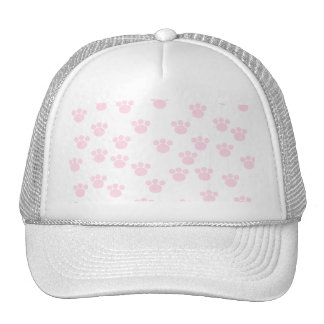 Animal Paw Print. Light Pink and White Pattern. Trucker Hats