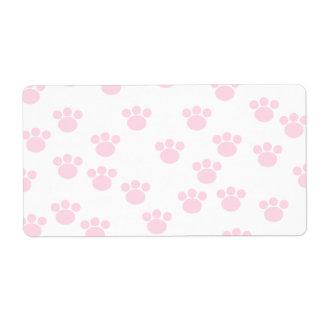 Animal Paw Print. Light Pink and White Pattern. Label