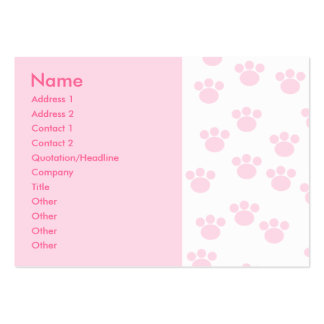 Animal Paw Print. Light Pink and White Pattern. Large Business Cards (Pack Of 100)
