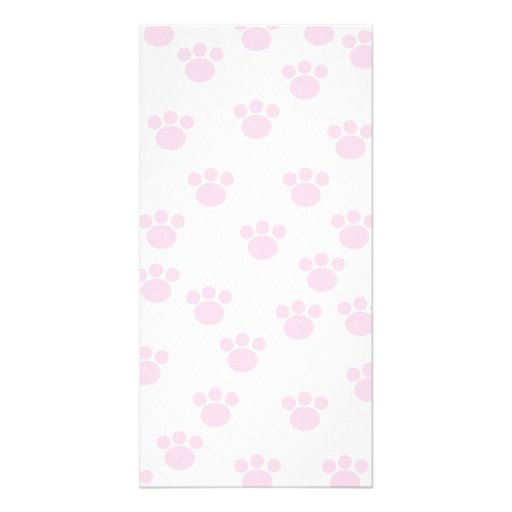 Animal Paw Print. Light Pink and White Pattern. Photo Card