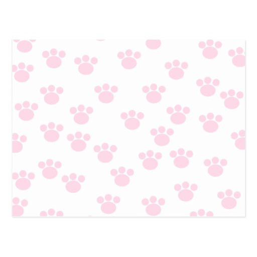 Animal Paw Print. Light Pink and White Pattern. Post Card