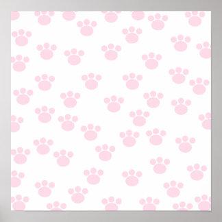 Animal Paw Print. Light Pink and White Pattern. Poster