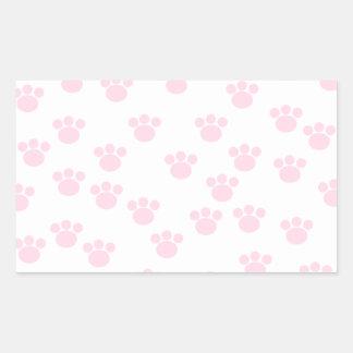 Animal Paw Print. Light Pink and White Pattern. Rectangular Sticker
