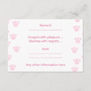Animal Paw Print Light Pink And White Pattern Rsvp Card