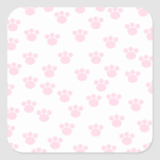 Animal Paw Print. Light Pink and White Pattern. Square Sticker