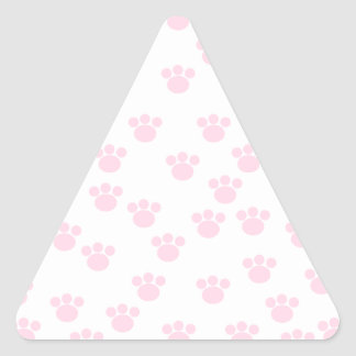Animal Paw Print. Light Pink and White Pattern. Triangle Stickers