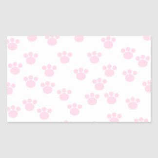 Animal Paw Print. Light Pink and White Pattern. Rectangle Stickers