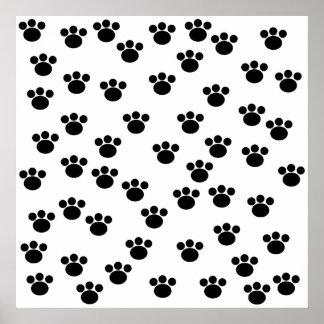 Animal Paw Print Pattern. Black and White.