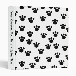 Animal Paw Print Pattern. Black and White. 3 Ring Binder
