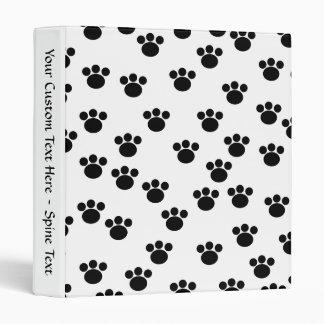 Animal Paw Print Pattern. Black and White. 3 Ring Binder