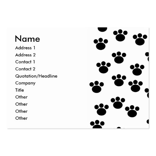 Animal Paw Print Pattern. Black and White. Large Business Cards (Pack Of 100)