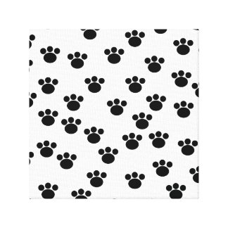 Animal Paw Print Pattern. Black and White. Stretched Canvas Print