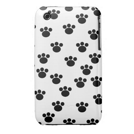 Animal Paw Print Pattern. Black and White. Case-Mate iPhone 3 Case