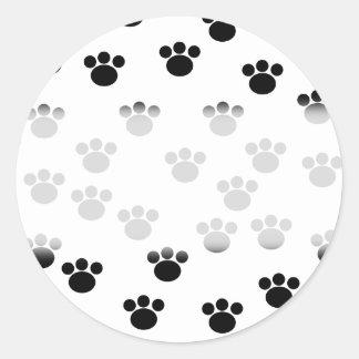 Animal Paw Print Pattern. Black and White. Classic Round Sticker