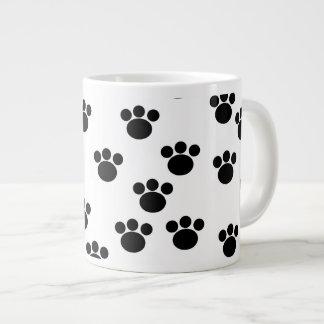 Animal Paw Print Pattern. Black and White. Giant Coffee Mug