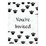Animal Paw Print Pattern. Black and White. 5x7 Paper Invitation Card
