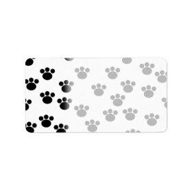 Animal Paw Print Pattern. Black and White. Address Label
