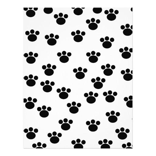 Animal Paw Print Pattern. Black and White. Letterhead