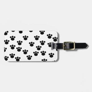 Animal Paw Print Pattern. Black and White. Luggage Tag