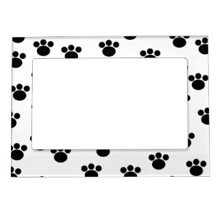 Animal Paw Print Pattern Black and White Photo Frame Magnet