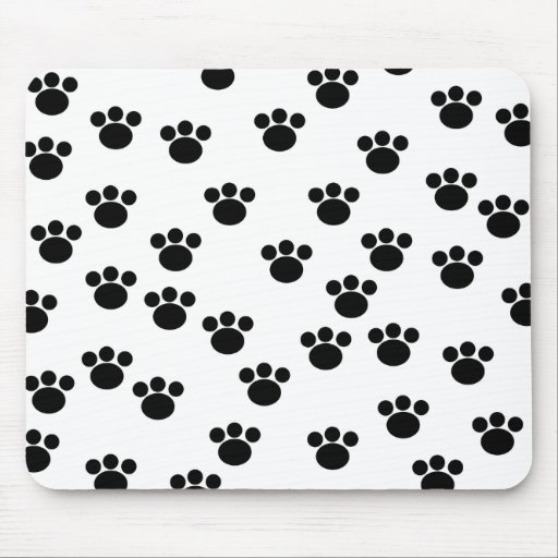 Animal Paw Print Pattern. Black and White. Mouse Pad
