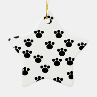Animal Paw Print Pattern. Black and White. Christmas Ornaments