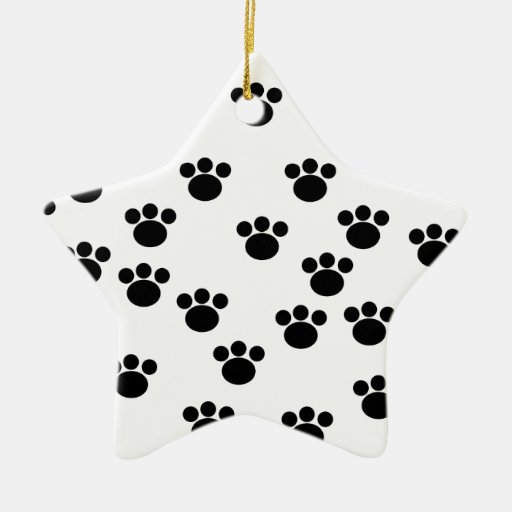 Animal Paw Print Pattern. Black and White. Double-Sided Star Ceramic Christmas Ornament