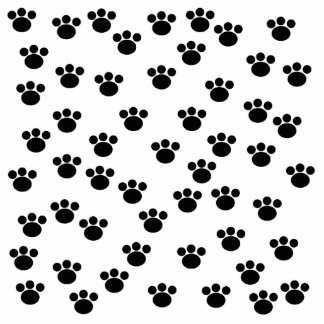 Animal Paw Print Pattern. Black and White. Acrylic Cut Out