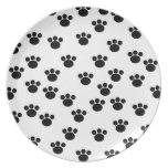 Animal Paw Print Pattern. Black and White. Dinner Plate